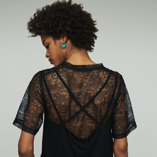 Trompe l'oeil top with lace : All the collection color Black 210