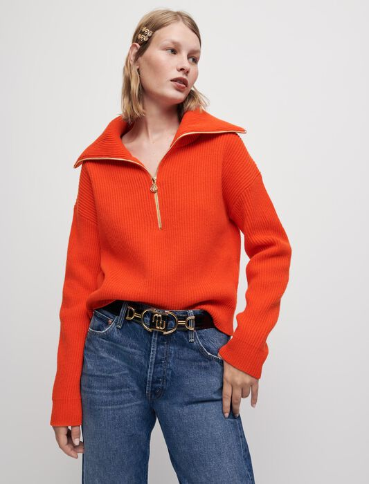 100% wool pullover with half-zip collar : Pullovers & Cardigans color Ecru