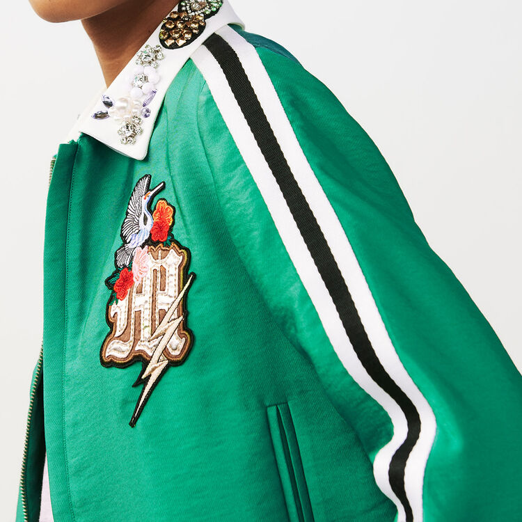 Cropped jacket with bejeweled collar : staff private sale color Green