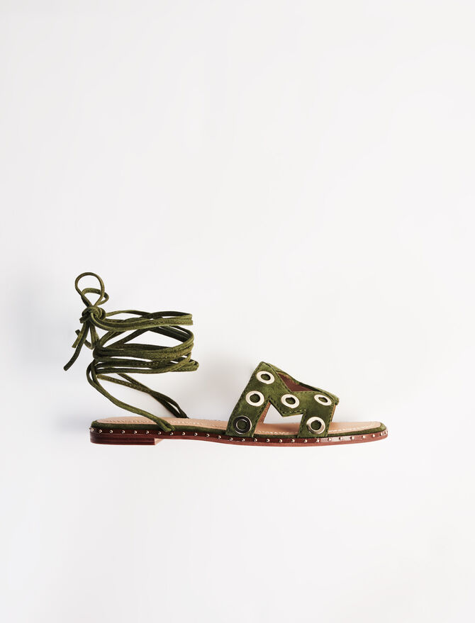 Suede tie sandals with eyelets -  - MAJE