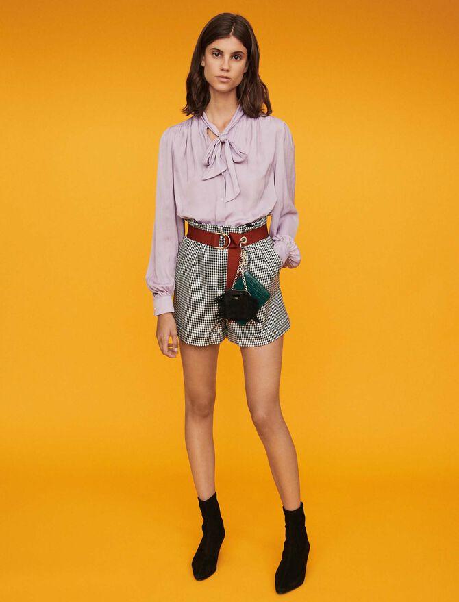 Belted houndstooth shorts -  - MAJE