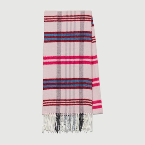 Plaid knit scarf : Shawls & Ponchos color Burgundy