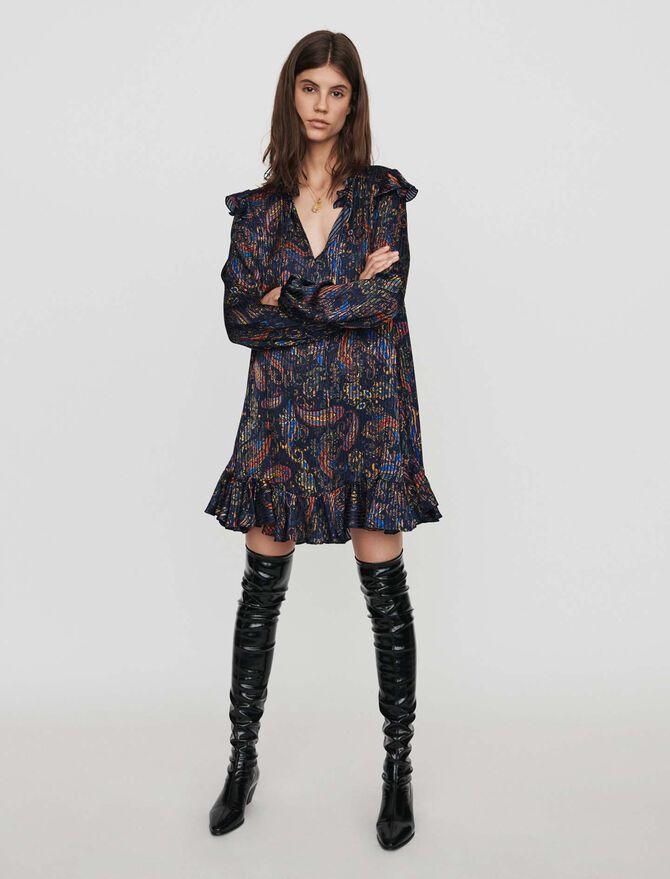 Jacquard-printed babydoll dress - Dresses - MAJE