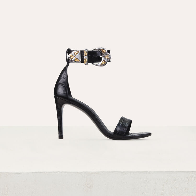 Crocodile heeled sandals : Slipper color Black 210