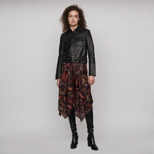 Buttoned leather jacket : Winter collection color Black