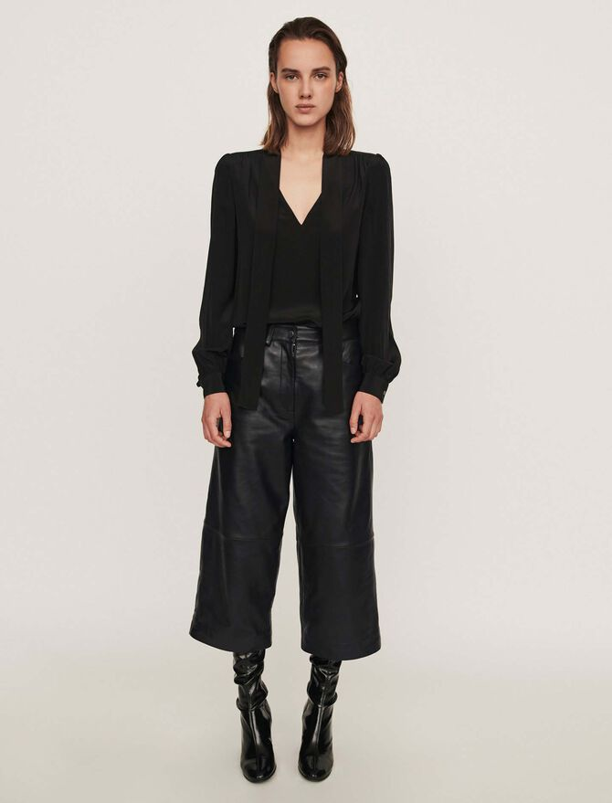 Leather bermuda-like pants - Seeall - MAJE