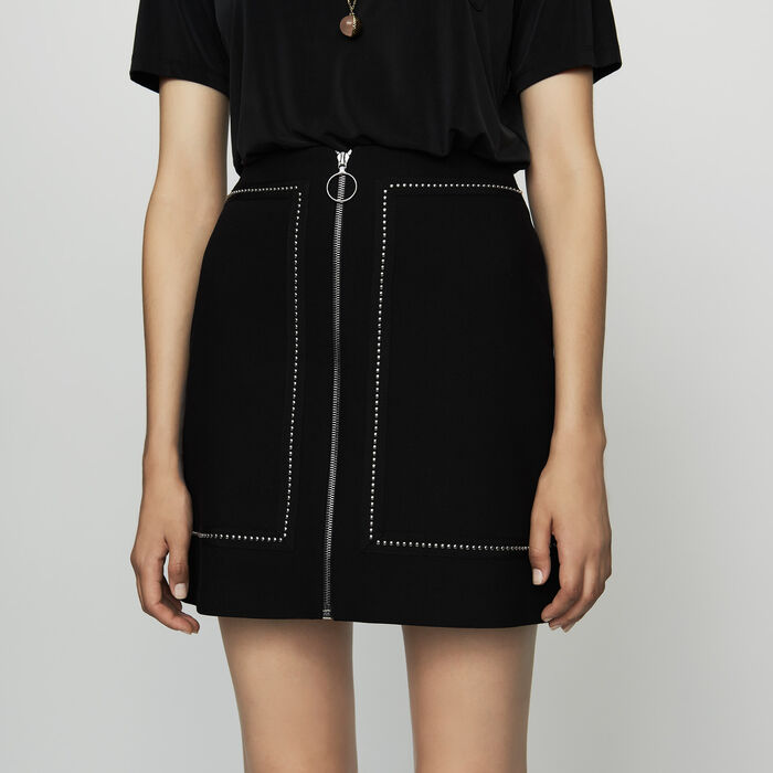 Short crepe skirt with studs : Skirts & Shorts color Black 210