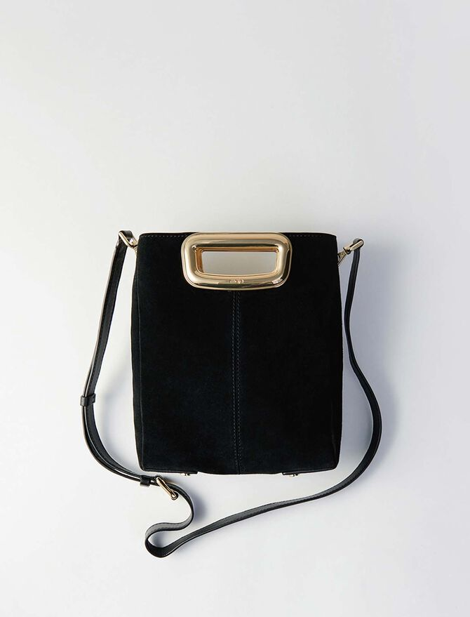Suede and goldtone metal M Skin bag -  - MAJE