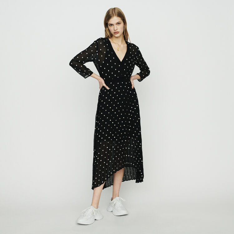 Long pleated dress with daisy print : Dresses color Black