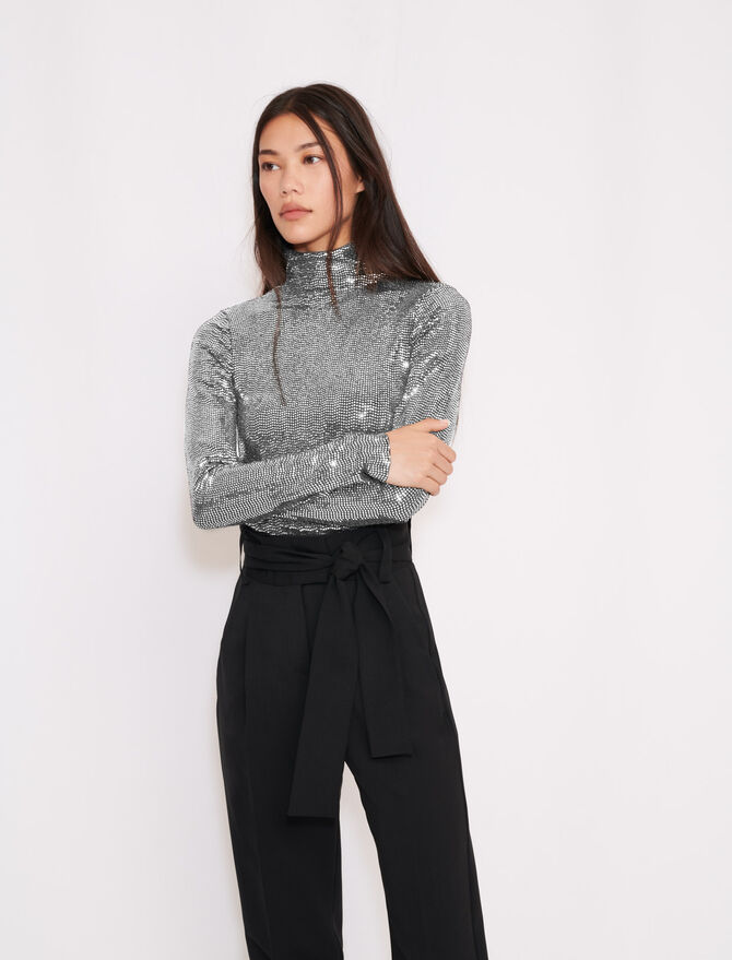 Turtleneck t-shirt in stretch material - T-Shirts - MAJE