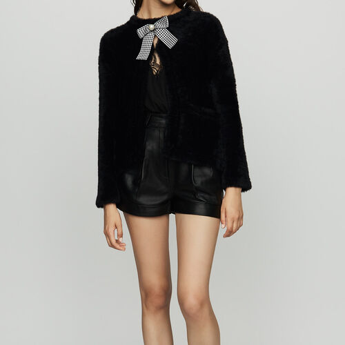 Faux fur cardigan : Knitwear color Black 210
