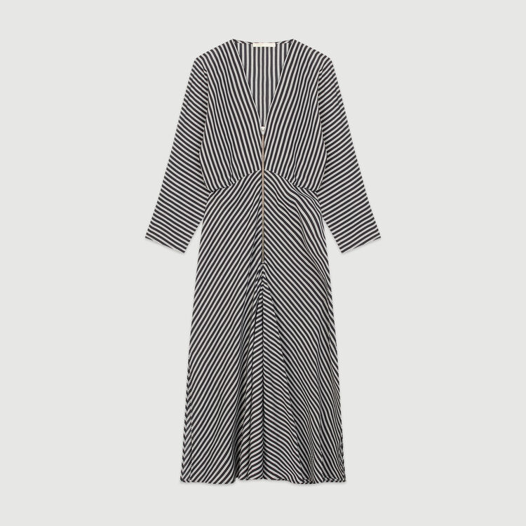 Zipped midi dress with stripes : Dresses color Stripe