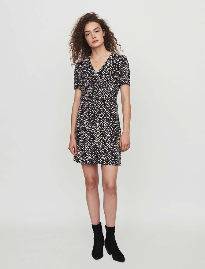 Gathered dress in printed jacquard - Dresses - MAJE