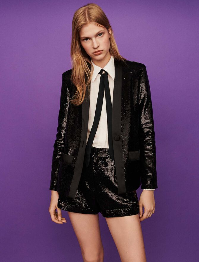 Sequin and satin jacket -  - MAJE