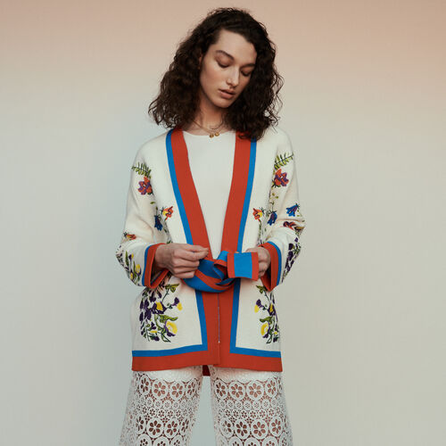 Cardigan with floral embroidery : Knitwear color Multico