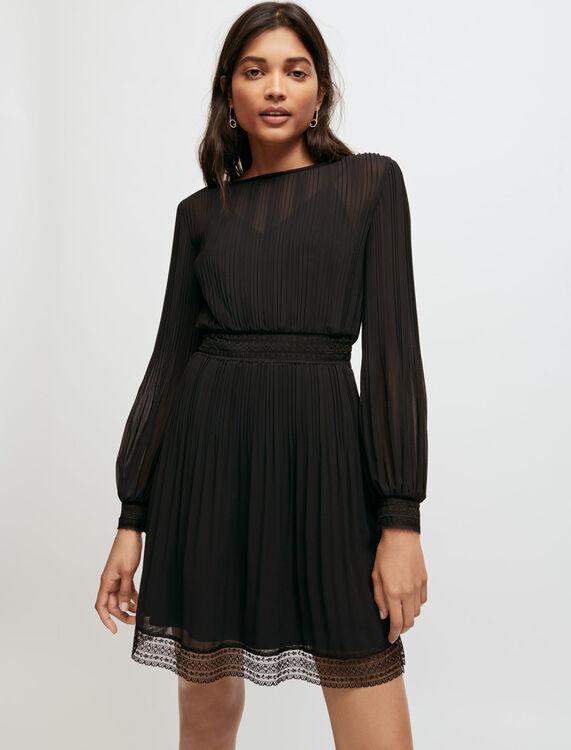 Muslin and lace smocked dress - Short dresses - MAJE
