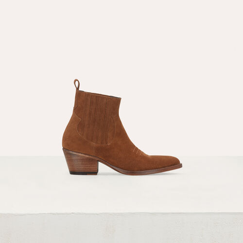Suede booties with Western-style cutouts : Booties color Camel