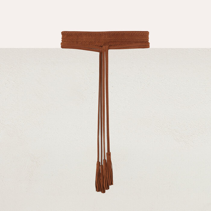 High-waisted suede belt : Belts color Camel