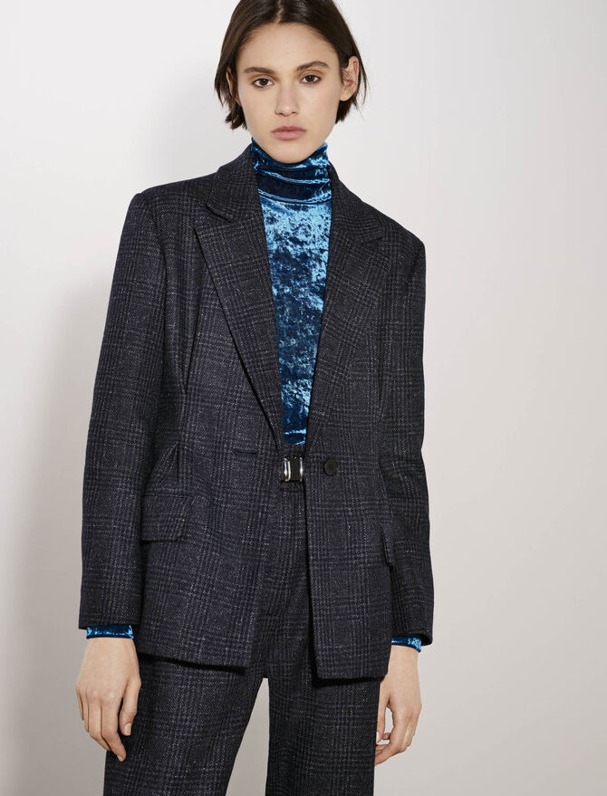 Belted and fitted checked jacket - See all - MAJE