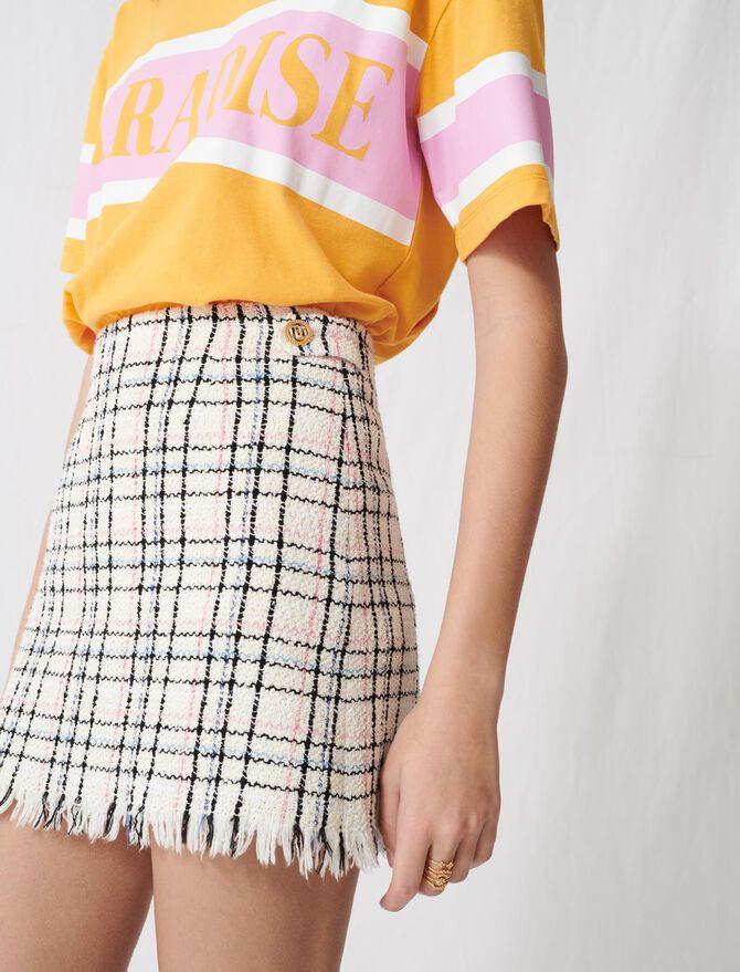 Tweed-style mini skirt with fringing - Skirts & Shorts - MAJE