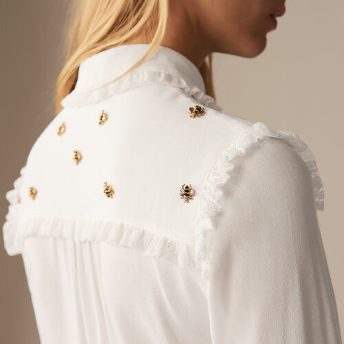 Shirt with embroidered bees : staff private sale color White