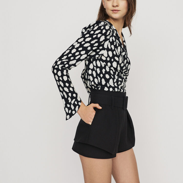 Front-pleated trompe-l'œil shorts : Skirts & Shorts color Black 210