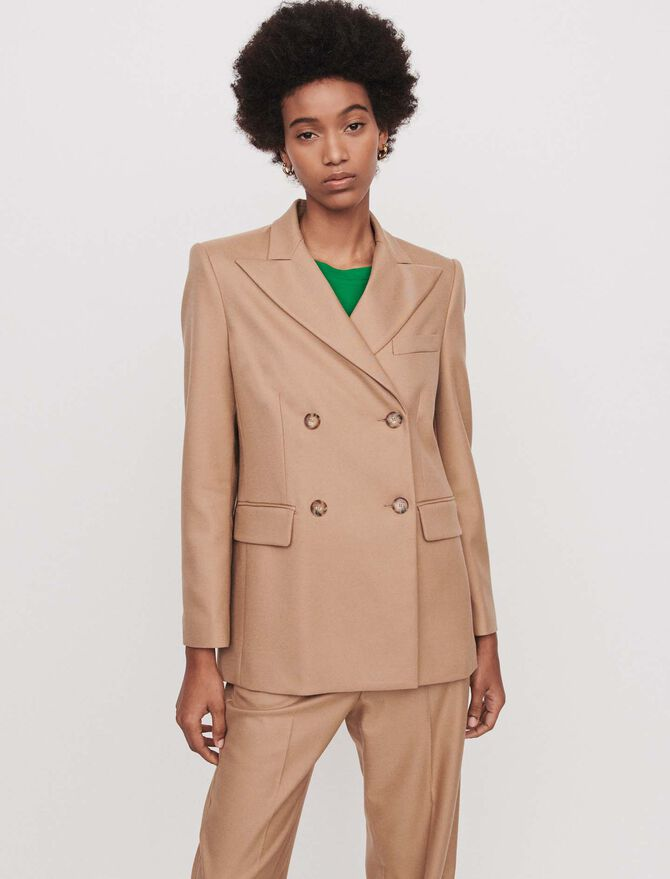 Staright-cut double breasted jacket -  - MAJE