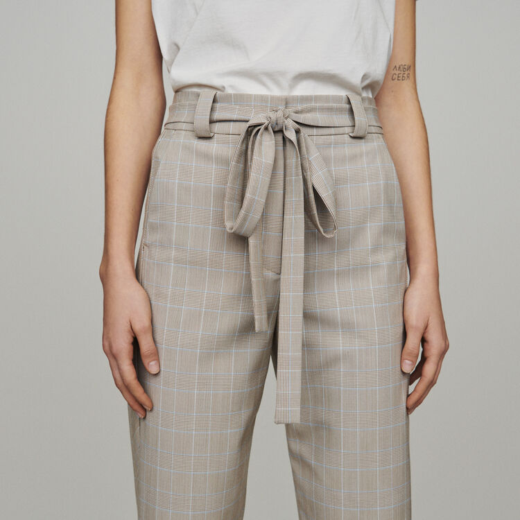 Belted checked trousers : Trousers & Jeans color CARREAUX