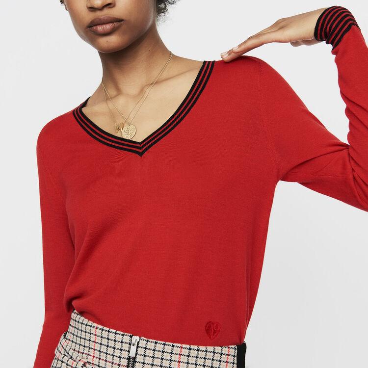 Fine knit merino wool sweater : Knitwear color Red