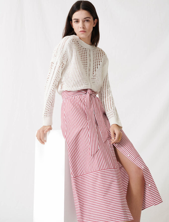 Long striped tie skirt - Skirts & Shorts - MAJE