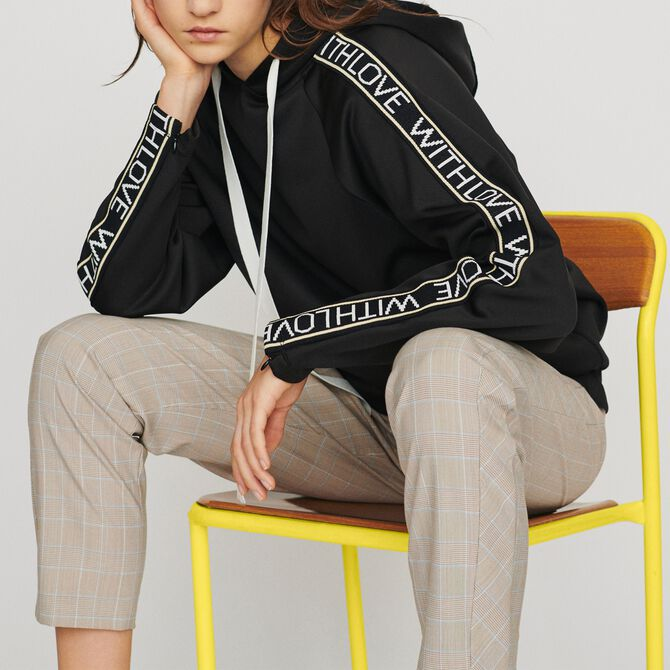 Hooded sweat-shirt with slogan band - Tops - MAJE