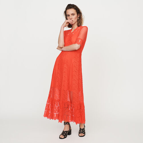 Long Swiss dot dress with daisy lace : Dresses color Coral