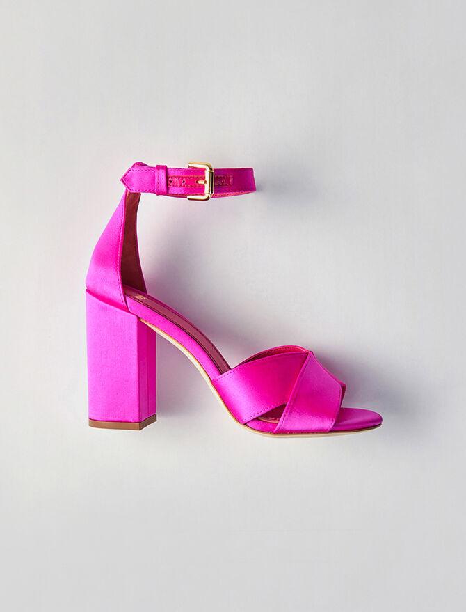 Heeled satin sandals -  - MAJE