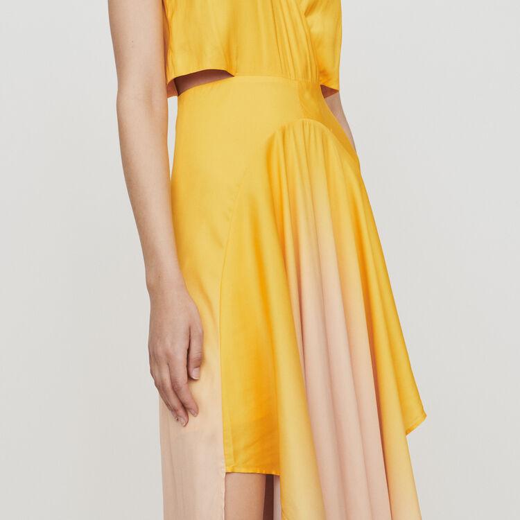 Long tie dye dress in satin : Dresses color Coral