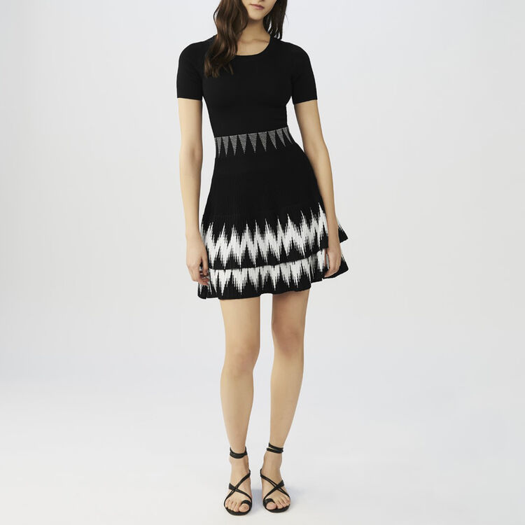 Ruffled knit dress : staff private sale color Black 210