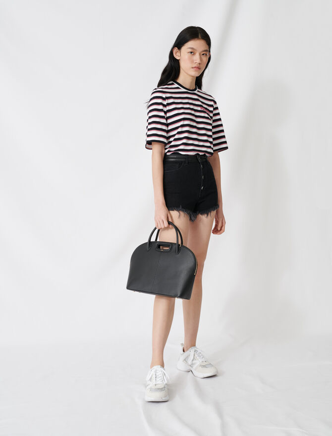 Fringed black denim shorts - Skirts & Shorts - MAJE
