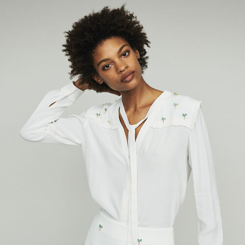 Crepe blouse with palm jewels : Shirts color ECRU