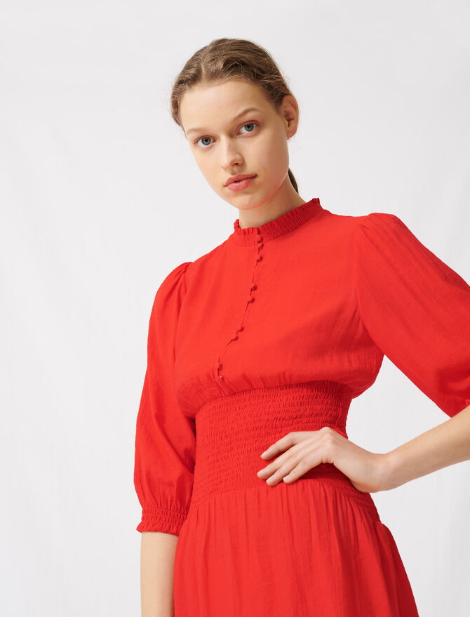 Mid-length smocked red dress - Dresses - MAJE