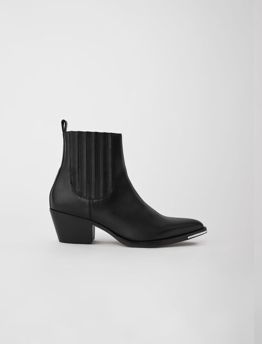 Western-style ankle boots in leather : Booties & Boots color Black