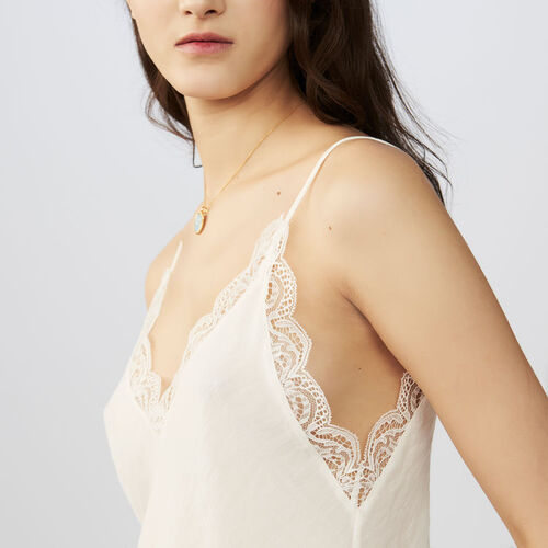 Crepe camisole with lace : Tops & Shirts color Black 210