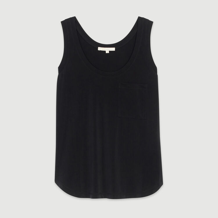 Round collar tank in cupro : T-Shirts color Black