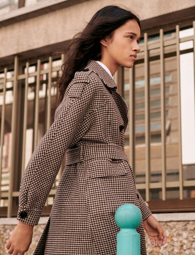 Belted dogtooth coat - See all - MAJE