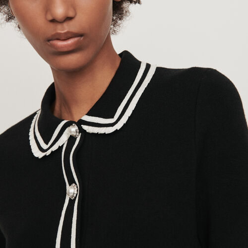 Contrast and jeweled polo-style sweater : Pullovers & Cardigans color Black