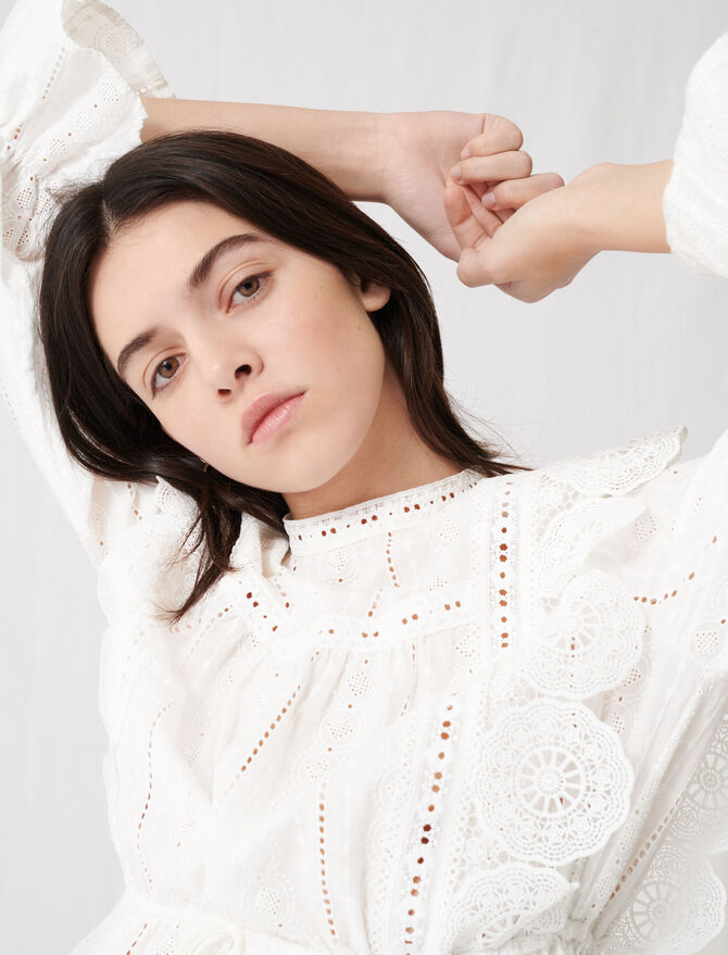 White top with broderie anglaise - Tops & Shirts - MAJE