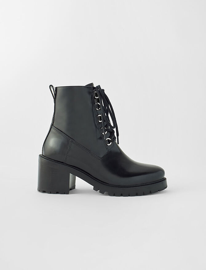Black leather heeled boots - New collection - MAJE