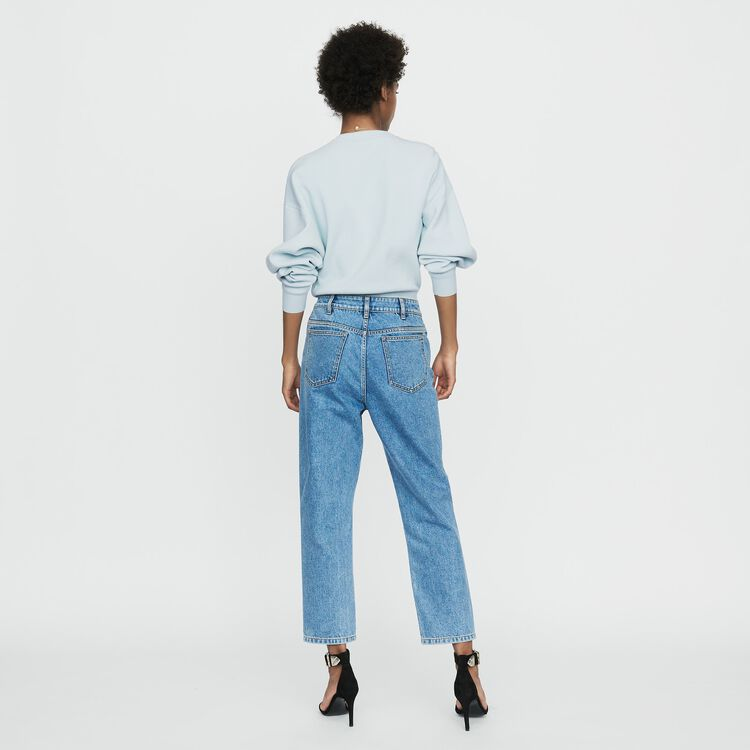Wide denim jeans in faded denim : Trousers & Jeans color Denim