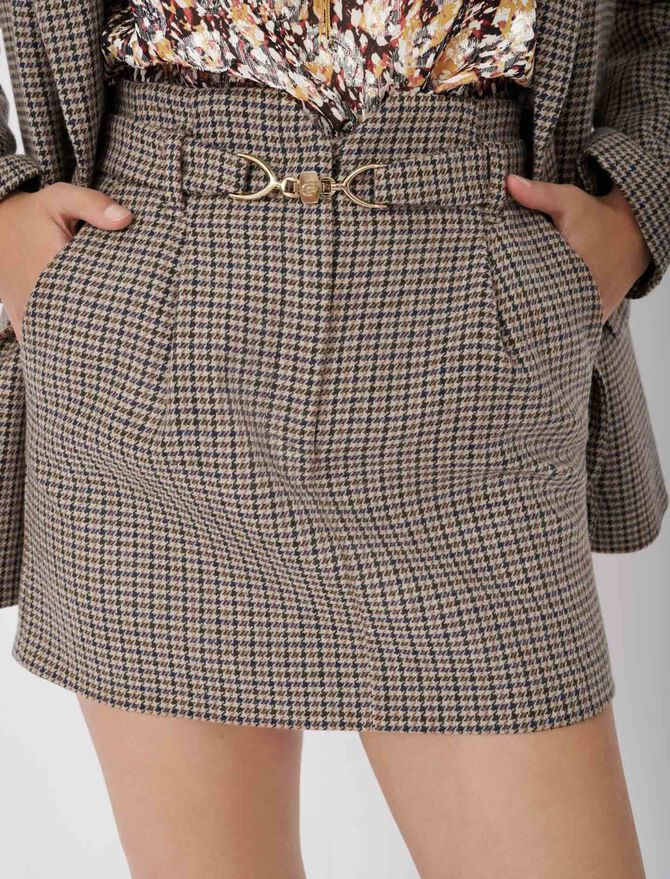 Short checked skirt with belt -  - MAJE