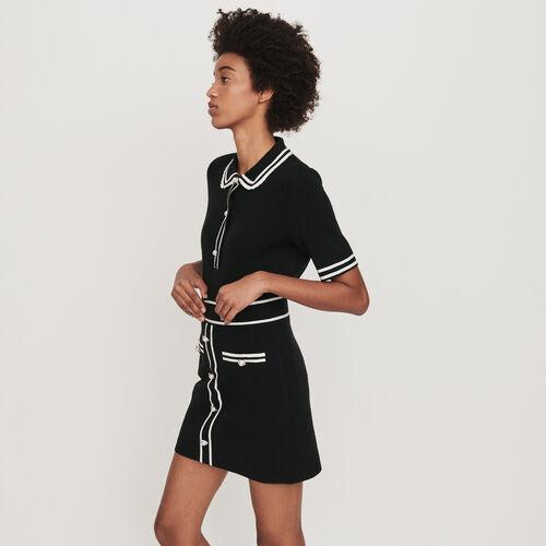Jeweled contrast knit skirt : Skirts & Shorts color Black