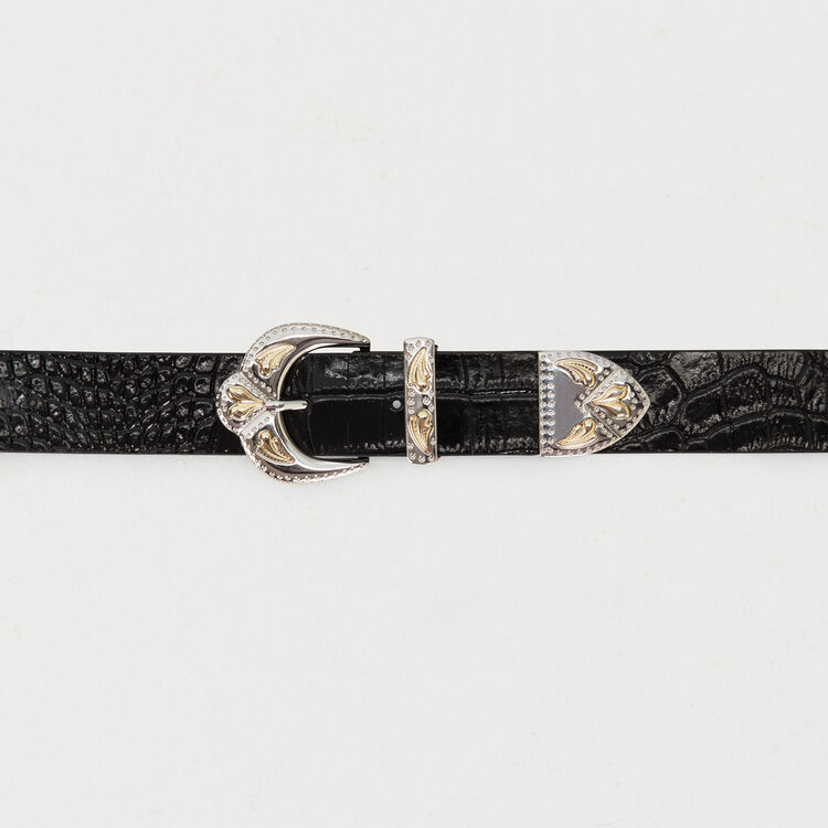 Double-buckle belt in crocodile : Belts color Black 210