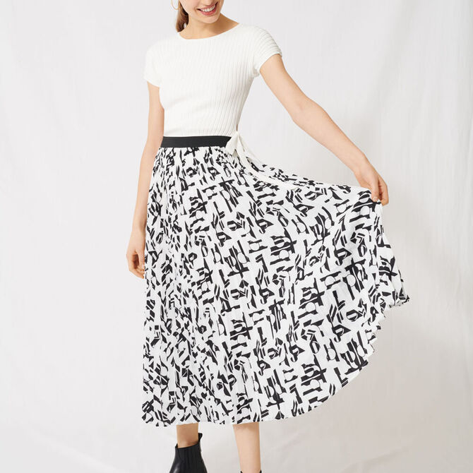 Pleated skirt with an arty print - staff private sale 1220 - MAJE